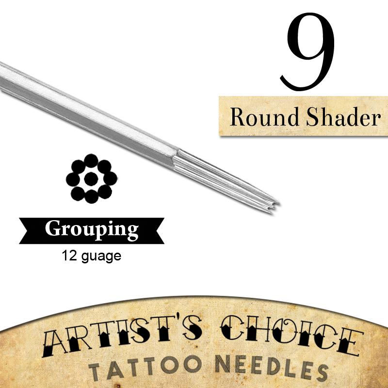 Artists Choice Tattoo Needles - 9 Round Shader 50 Pack