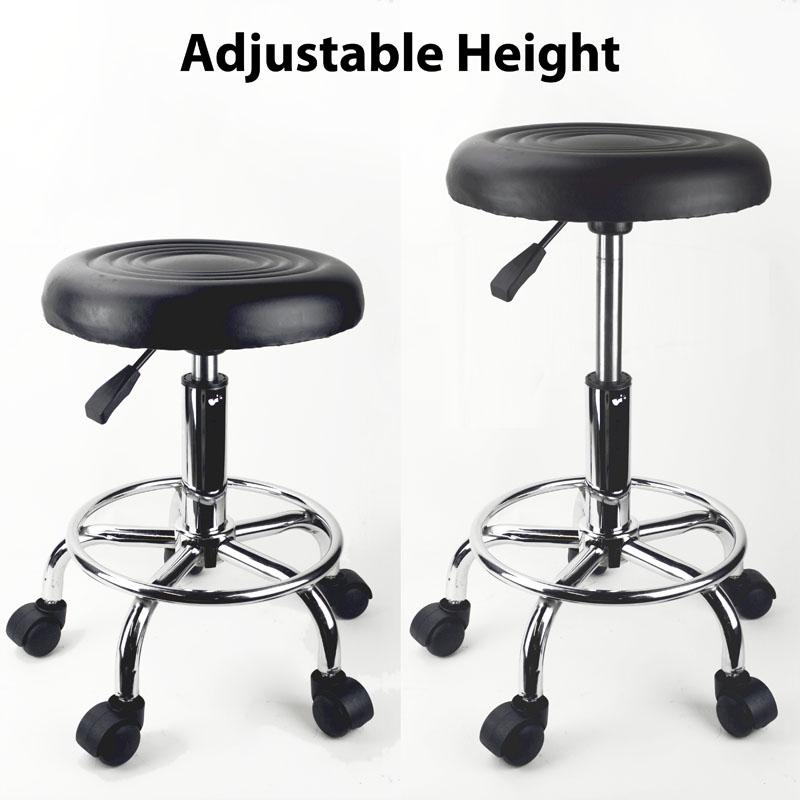 Black Adjustable Rolling Stool Tattoo Salon Chair