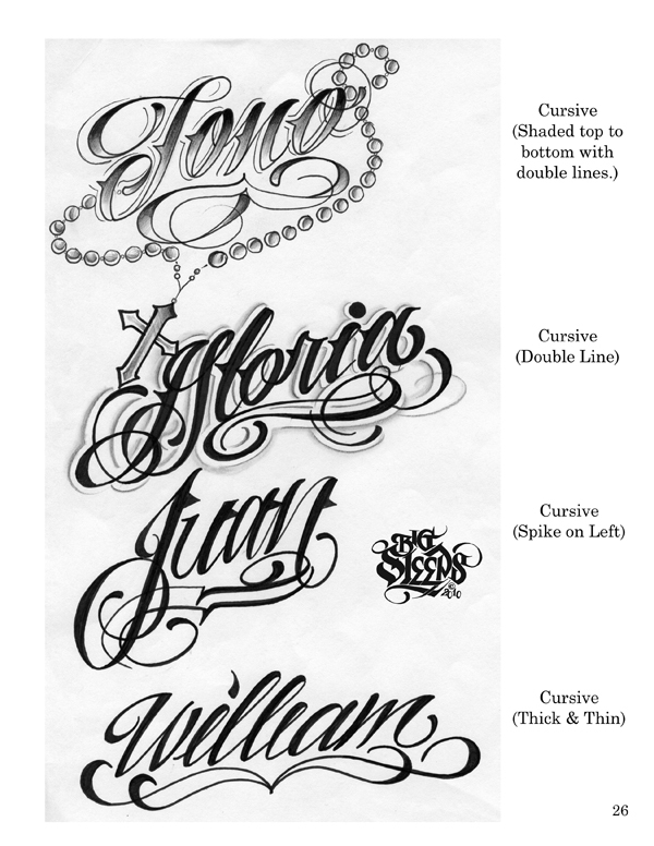 LETTERS TO LIVE BY VOLUME 1 Tattoo Script Lettering Sketchbook Flash Book By Big Sleeps 55