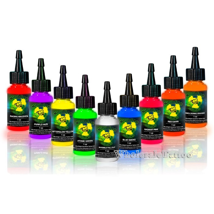 Mom S Nuclear Uv Blacklight Tattoo Ink 9 Color Set 1oz