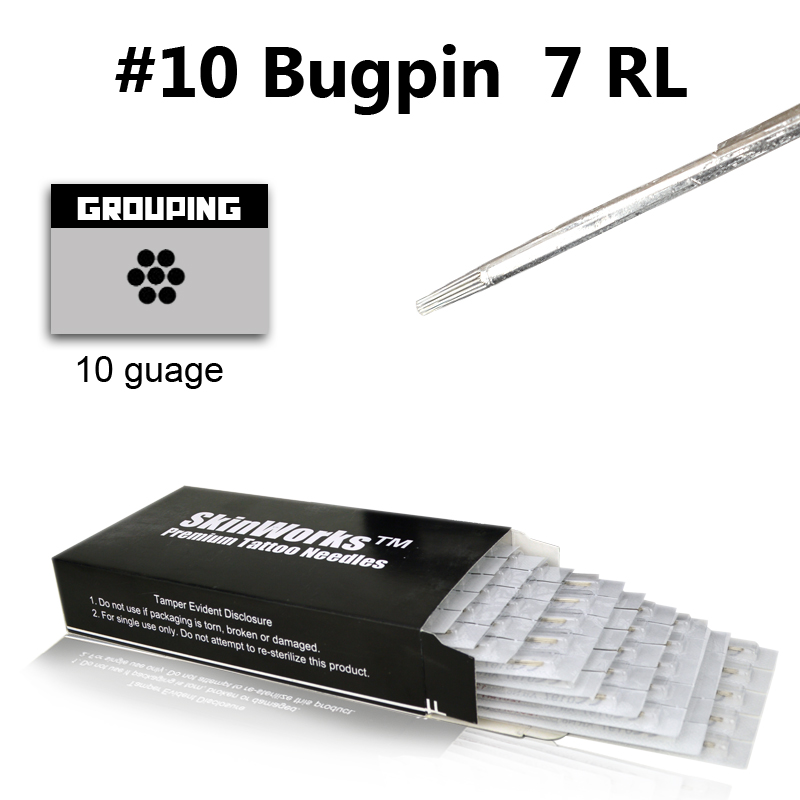 Tattoo Needles 10 Bugpin 7 Round Liner 50 Pack