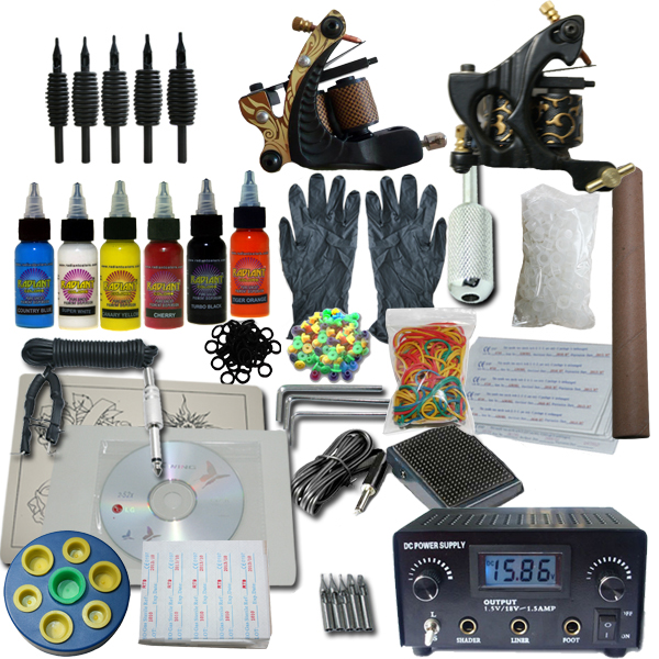 2 machine apprentice tattoo kit with digital power supply