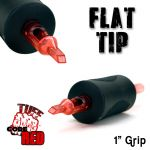 "Tuff Tube® V2 Code Red- 1"" Inch Sterile Black Disposable Tattoo Grips with Hard Silicon Grip and Clear Tip - 7 Flat 20 Pack"