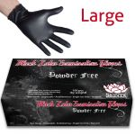 Black Latex Powder Free Examination Gloves - Large