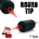 "Tuff Tube® V2 Code Red- 1"" Inch Sterile Black Disposable Tattoo Grips with Hard Silicon Grip and Clear Tip - 3 Round 20 Pack"