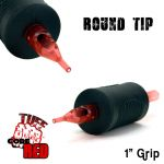 "Tuff Tube® V2 Code Red- 1"" Inch Sterile Black Disposable Tattoo Grips with Hard Silicon Grip and Clear Tip - 7 Round 20 Pack"