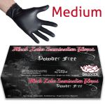 Black Latex Powder Free Examination Gloves - Medium