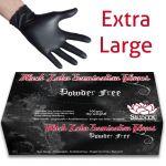 Black Latex Powder Free Examination Gloves - Extra-Large